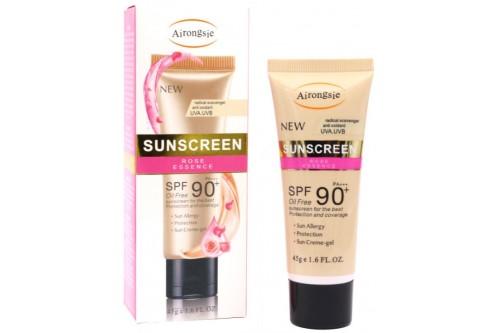 """Солнцезащитный крем для лица """"Роза"""" с тонирующим эффектом и солнцезащитным фактором SPF 90."""