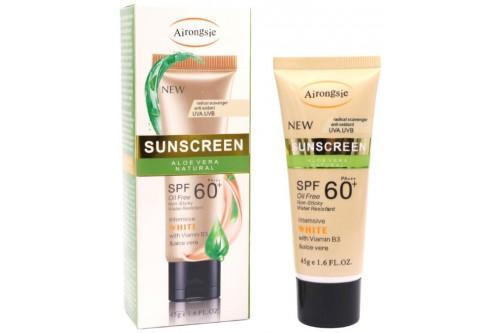 """Солнцезащитный крем для лица """"Алоэ"""" с тонирующим эффектом и солнцезащитным фактором SPF 60."""